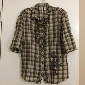 Brown/green/cream plaid short sleeve blouse